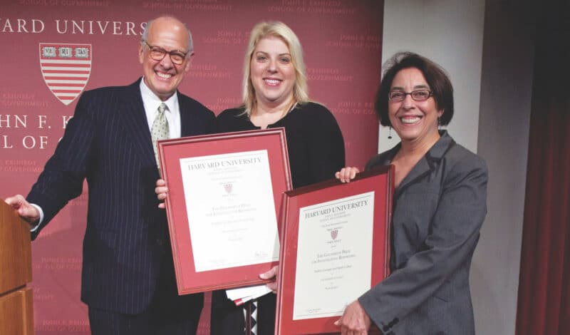 Alex S. Jones with the winners of the Investigative Reporting Prize, Debbie Cenziper and Sarah Cohen